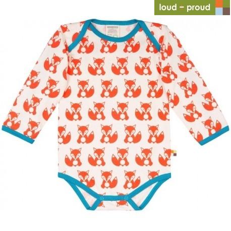 4680e2828913 loud + proud - Bio Baby Body langarm mit Fuchs-Druck, orange ...