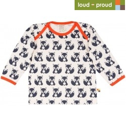 loud + proud - Bio Baby Langarmshirt mit Fuchs-Druck, blau