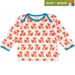 loud + proud - Bio Baby Langarmshirt mit Fuchs-Druck, orange