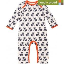 loud + proud - Bio Baby Strampler langarm mit Fuchs-Druck, blau