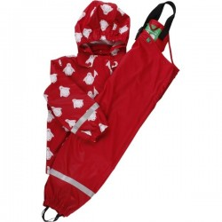 Fred`s World by Green Cotton - Kinder Regenjacke und Regenhose mit Pinguin-Motiv, rot