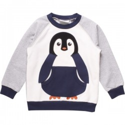 Fred`s World by Green Cotton - Bio Kinder Sweatshirt mit Pinguin-Applikation