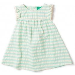 Little Green Radicals - Bio Kinder Kleid mit Streifen, türkis
