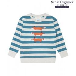 """Sense Organics - Bio Kinder Sweatshirt """"Finn"""" mit Fuchs-Motiv und Streifen"""