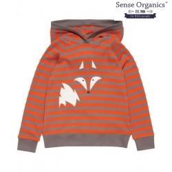"""Sense Organics - Bio Kinder Sweatshirt """"Jonas"""" mit Fuchs-Motiv und Streifen"""