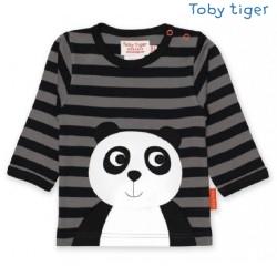 Toby tiger - Bio Baby Langarmshirt mit Panda-Motiv und Streifen