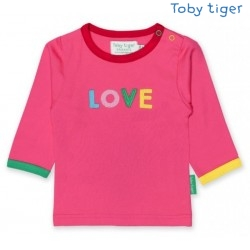 Toby tiger - Bio Baby Langarmshirt mit LOVE-Applikation
