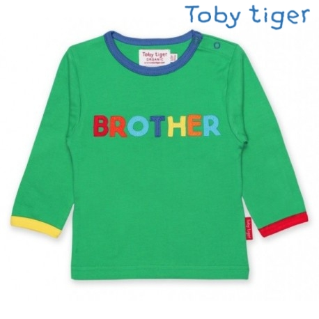 Toby tiger - Bio Baby Langarmshirt mit BROTHER-Applikation