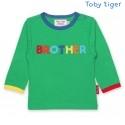 Toby tiger - Bio Baby Langarmshirt mit BROTHER-Applikation