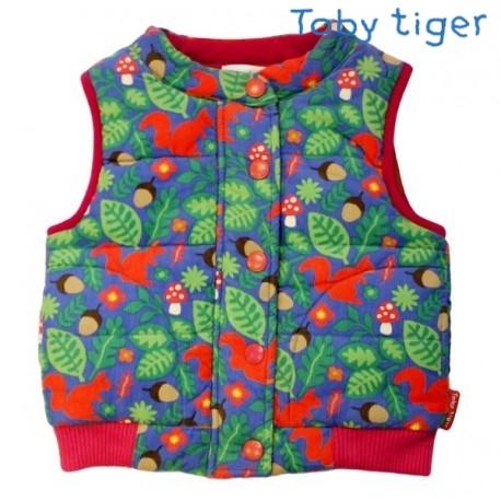 Toby tiger - Bio Kinder Cord Weste mit Wald-Motiv