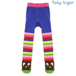 Toby tiger - Bio Kinder Strumpfhose mit Eulen und Streifen
