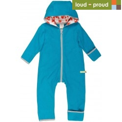 loud + proud - Bio Baby Fleece Overall, petrol