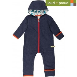 loud + proud - Bio Baby Fleece Overall, midnight