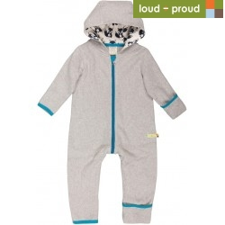 loud + proud - Bio Baby Fleece Overall, grau
