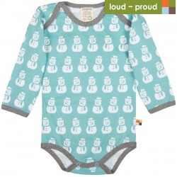 loud + proud - Bio Baby Body langarm mit Schneemann-Druck