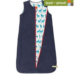 loud + proud - Bio Baby Wende Fleece Schlafsack mit Elch-Motiv, midnight