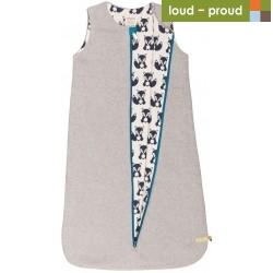 loud + proud - Bio Baby Wende Fleece Schlafsack mit Fuchs-Motiv, grau
