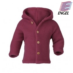 ENGEL - Bio Baby Fleece Jacke mit Kapuze, Wolle, rose