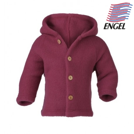 ENGEL - Bio Baby Fleece Jacke mit Kapuze, Wolle, rose