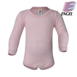 ENGEL - Bio Baby Body langarm , Wolle/Seide, pastelpink