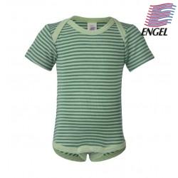 ENGEL - Bio Baby Body kurzarm gestreift, Wolle/Seide, grün