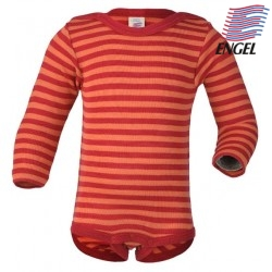 ENGEL - Bio Baby Body langarm gestreift, Wolle/Seide, rot/orange