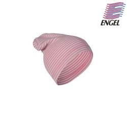ENGEL - Bio Baby Mütze gestreift, Wolle/Seide, rosa