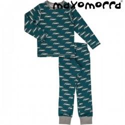 Maxomorra - Bio Kinder Schlafanzug mit Retro Auto-Motiv