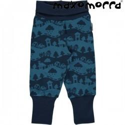 Maxomorra - Bio Baby Sweathose mit Landschafts-Motiv, blau