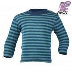 ENGEL - Baby Langarmshirt gestreift, Wolle/Seide, blau