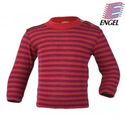 ENGEL - Baby Langarmshirt gestreift, Wolle/Seide, rot