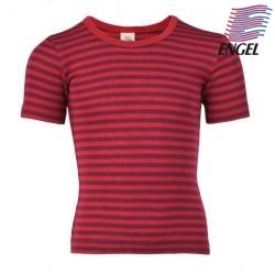 ENGEL - Bio Kinder Unterhemd kurzarm gestreift, Wolle/Seide, rot
