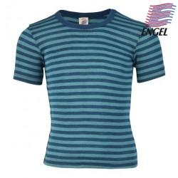 ENGEL - Bio Kinder Unterhemd kurzarm gestreift, Wolle/Seide, ocean