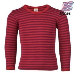 ENGEL - Bio Kinder Unterhemd langarm gestreift, Wolle/Seide, rot