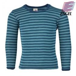 ENGEL - Bio Kinder Unterhemd langarm gestreift, Wolle/Seide, ocean