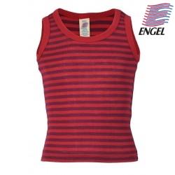ENGEL - Bio Kinder Unterhemd gestreift, Wolle/Seide, rot