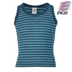 ENGEL - Bio Kinder Unterhemd gestreift, Wolle/Seide, ocean