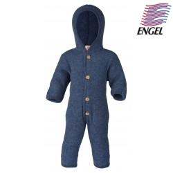 ENGEL - Bio Baby Fleece Overall mit Kapuze, Wolle, blau