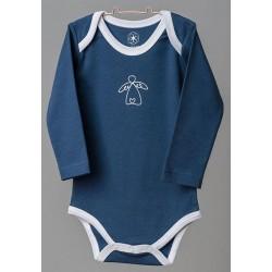 ORGANIC by Feldman - Bio Baby Body langarm mit Schutzengel-Motiv, blau