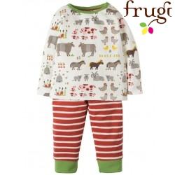 frugi - Bio Baby Set Langarmshirt + Sweathose mit Bauernhof-Motiv