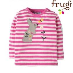"""frugi - Bio Baby Langarmshirt """"Button"""" mit Hasen-Motiv und Streifen"""