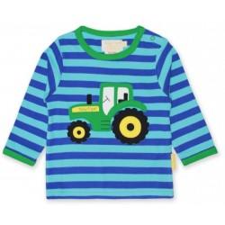 Toby tiger - Bio Baby Langarmshirt mit Traktor-Motiv und Streifen