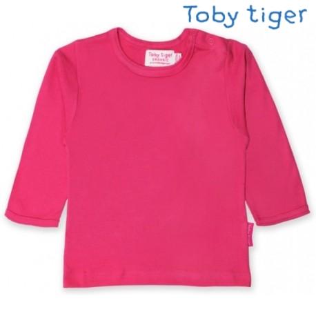 Toby tiger - Bio Baby Langarmshirt, rosa