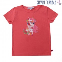 Enfant Terrible - Bio Kinder T-Shirt mit Pferde-Motiv, rosa