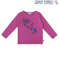 Enfant Terrible - Bio Kinder Langarmshirt mit Schmetterling- und Vogel-Motiv