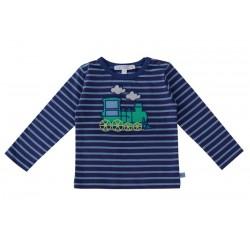 Enfant Terrible - Bio Baby Langarmshirt mit Lokomotiven-Motiv und Streifen