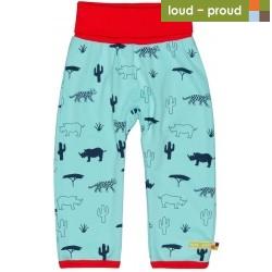 loud + proud - Bio Baby Sweathose mit Safari-Motiv, hellblau