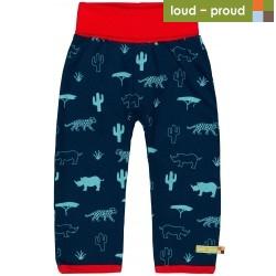 loud + proud - Bio Baby Sweathose mit Safari-Motiv, marine