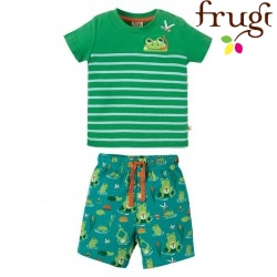 "frugi - Bio Baby Set T-Shirt + Shorts ""Mousehole"" mit Frosch-Motiv"