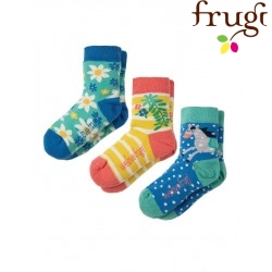 """frugi - Kinder Strümpfe 3er-Pack """"Susie"""" Blumen und Pferd"""